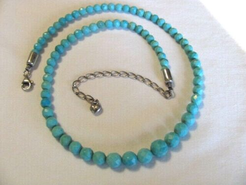 JAY KING DTR MINE FINDS FACETED GRADUATED TURQUOISE BEADS BEADED NECKLACE