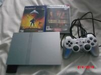 PLAYSTATION 2 SILVER EDITION CONSOLE RARE WITH MEMORY CARD AND 2 GAMES IN GOOD CONDITION