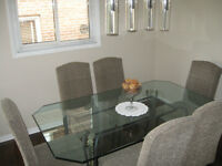 Wrought Iron Glass Top Dining Table and 6 Parson Chairs (Leopard
