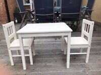 IKEA Children's Wooden Table and 2 Chairs - White