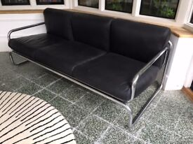 Fantastic 60's/70's polished steel and leather sofa