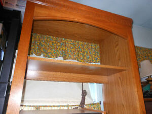 Gorgeous OAK HUTCH with Built-in Light Behind Top Shelf