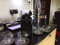 Nespresso Inissia coffee machine, including Aeroccino, stand and pods, cups and saucers