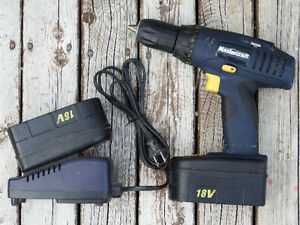 Mastercraft NiCad Cordless Drill/Driver, 18V Two Batteries