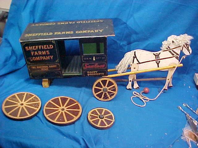 Early 20thc SHEFFIELD FARMS Wood HORSE Drawn MILK WAGON PULL TOY