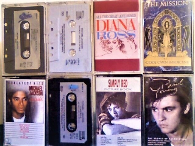 MICHAEL JACKSON 4x TAPES; DIANA ROSS; SIMPLY RED; THE MISSION; PAUL YOUNG PRERECORDED CASSETTE TAPES