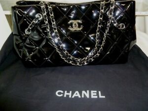 AUTHENTIC CHANEL PATENT/VINYL QUILTED CC CHAINED HANDBAG PURSE