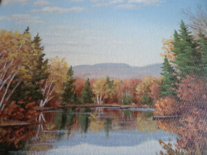 REAL SIGNED PAINTING BY ALINE LALANCETTE QUEBEC CANADA