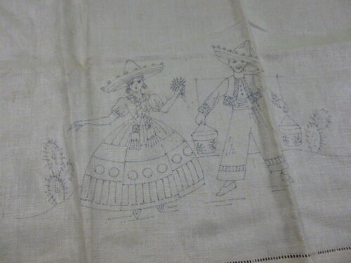 3 NOS Vintage Stamped To Embroider Beige Pure Linen Tea Towels Floral Mexican