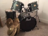 Pearl Export Series Drum Kit 5 piece plus cymbals, sound dampeners and drum stool - Complete set