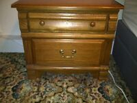 2 x large bedside cabinets - solid wood - excellent condition