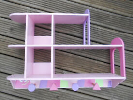 Girls Pink Bedroom Shelf / Hangng Unit