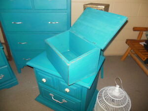 antique dresser, nightstands, stools, etc. painted,  teal London Ontario image 6