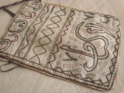 Vintage Antique Purse Bag EMBROIDERED Metallic Drawstring 6x8