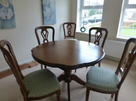 Solid Cherry Wood Table, 6 chairs and Corner Display unit REDUCED PRICE FOR QUICK SALE