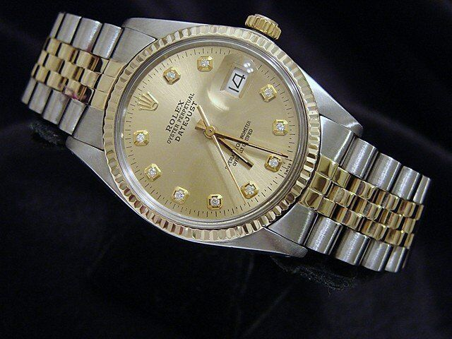 Rolex Datejust Mens Two-tone 14k Gold & Stainless Steel Champagne Diamond 16013