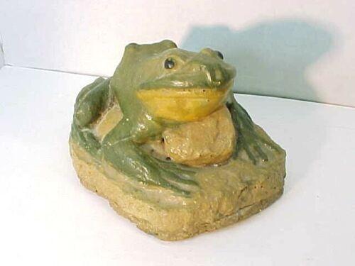 Fabulous Vintage Heavy Pottery or Clay Frog Door Stop Figure