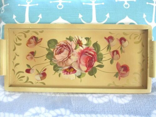 Rare Color Vintage Painted Pale Yellow Shabby Wood Dresser Perfume Tole Tray