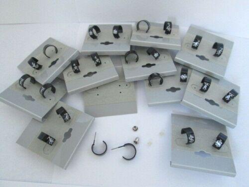 Stainless Steel Earrings Wholesale Lot 12 pair Black Plated Hoop Post USA Seller