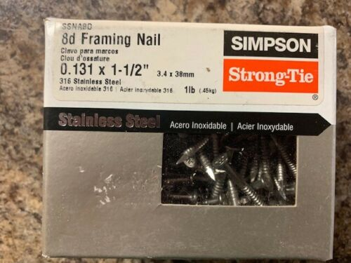 """Simpson Strong-Tie 8d Framing Nail 1lb Box 0.131 x 1-1/2"""" Stainless Steel"""