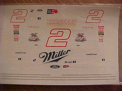 1997 RUSTY WALLACE #2 MILLER SPECIAL 1/24-1/25 WATER SLIDE DECAL SHEET