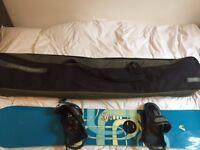 Snowboard 165 + dakine carry case, burton boots & bindings, burton snowboard trousers, and jacket