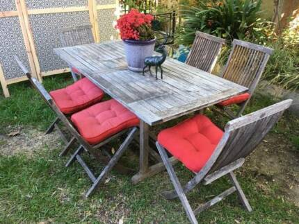 Outdoor dining setting: Vintage, solid teak, 7 pce, coastal color
