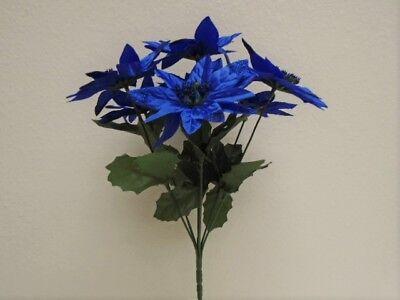 4 Bushes NAVY BLUE Christmas Poinsettia Artificial Flowers 12