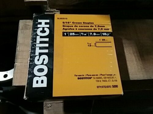 BOSTITCH Crown Staples, 1 x 5/16-Inch, 18GA, 5000-Pack (SL50351G)