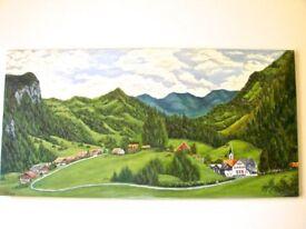 Swiss alps oil painting.