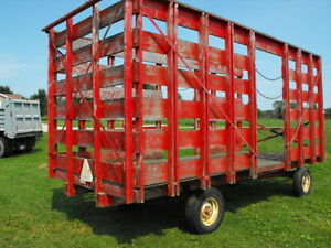 Bale thrower rack and wagon