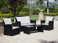 4 Piece Rattan Garden Furniture - 2 Seat Sofa 2 Chairs and Glass Topped Table
