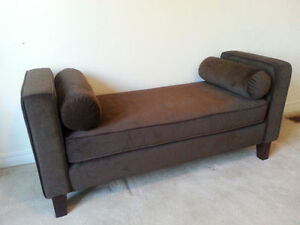 Chocolate Brown Upholstered Bench w/ Two Bolsters!