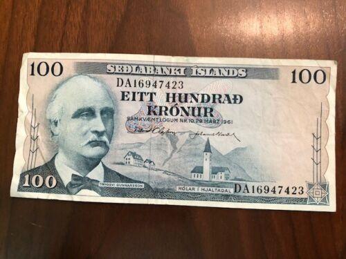 1961 ~ ICELAND ~ SEDLABANKI ISLANDS 100 KRONUR NOTE