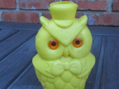 Vintage Yellow Owl Blow Mold Light Cover Patio Outdoor Light - Orange Eyes