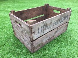 Original vintage wooden Apple Fruit Crate (Log Box, Storage, Farm Tray Brushel, Ross-on-Wye)