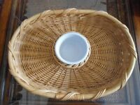 Large Woven Basket Chip & Dip With Ceramic Bowl