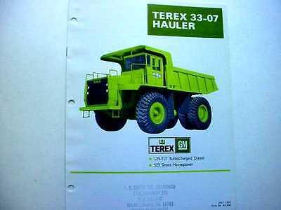 Terex 33-07 33-11d Hauler Truck Literature Pieces