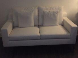 Dwell White Faux Leather 2 Seater Sofa