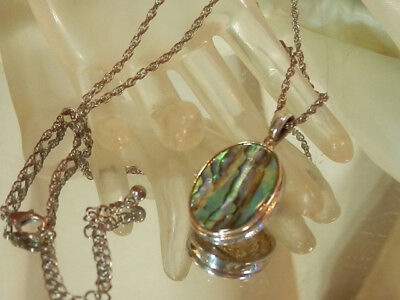 Vintage 80's Abalone Cab Set In Silver Plated Signed Best  Pretty Necklace 443a7 (Best 80 S Costumes)