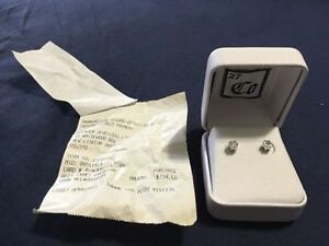 Never-worn white gold cluster diamond earrings, paid over $700