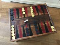 Vintage Moroccan Handcrafted Rustic Backgammon Games Table