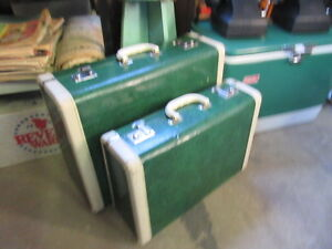 vintage 50s green marble faux leather suitcases