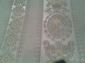 WALLPAPER SHABBY CHIC 10 ROLLS BY PALE PINK CROWN PALE BLUE FLOWERS ON A PALE SILVER BACKING