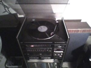 Pulser turntable and dual cassette player- plays 33's and 45's