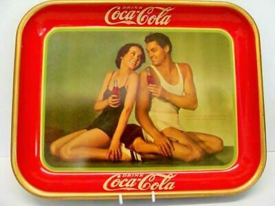 1934 ORIGINAL COCA COLA TRAY 86 YEARS OLD JOHNNY WEISSMULLER MAUREEN 0'SULLIVAN