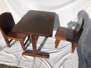 Wooden Child Table and 2 Chairs