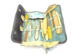 Vintage-Old-Used-Cloth-Nail-File-Travel-Grooming-Kit-Tool-Set-Antique