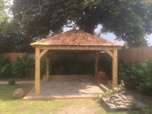Oak Gazebo with Cedar Shingles - 3.5x3.5 Square DIY Kit