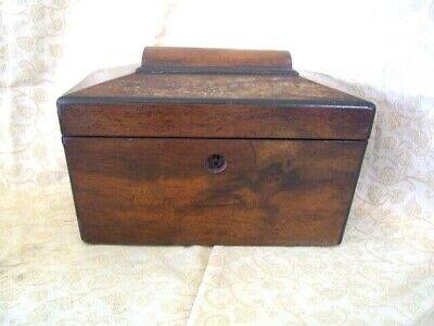 Sarcophagus Shaped Rosewood Tea caddy ~ inside needs work